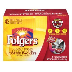 Folgers Classic Roast Pre Measured Coffee Packets 42 1.2 oz