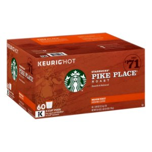 Starbucks Pike Place Medium Roast, 54 Count K Cups Keurig