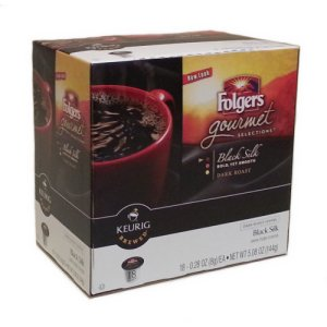 Folgers Gourmet Black Silk Dark Roast Coffee, 18 K-Cups Keurig