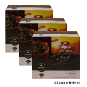 Folgers Gourmet Black Silk Dark Roast Coffee, 54 K-Cups